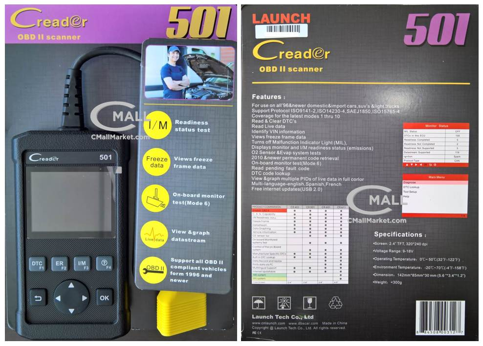 Scanner LAUNCH Creader 501 Cobertura OBD2 CAN